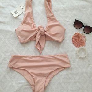 🌸Blush Pink Tie Front Bikini
